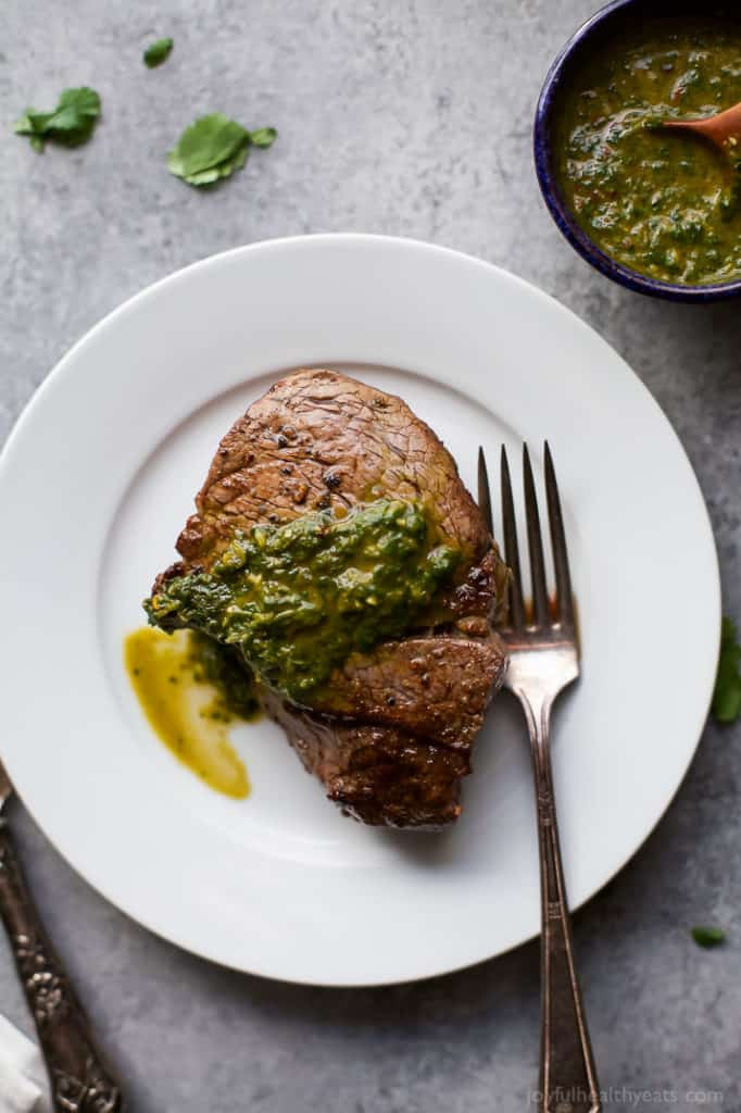15-Minute Pan Seared Filet Mignon with Chimichurri