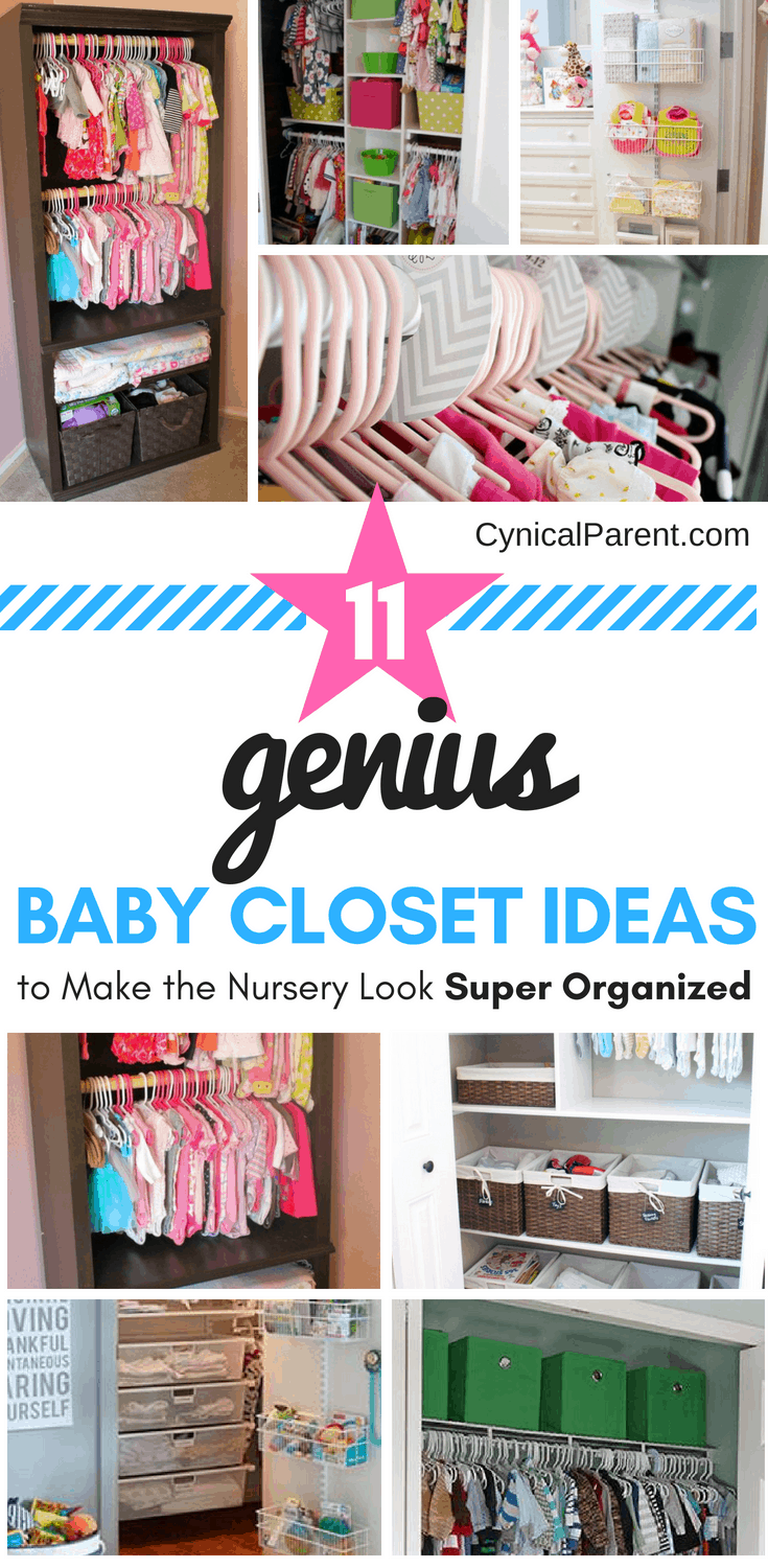 Babies are tiny humans who often come with a lot of stuff. Finding a way to store and organize all the stuff can be overwhelming. Here are 11 genius baby closet ideas to help you store it all and make your nursery look super organized!