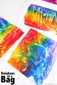 rainbow in bag - spring activity for preschool kids