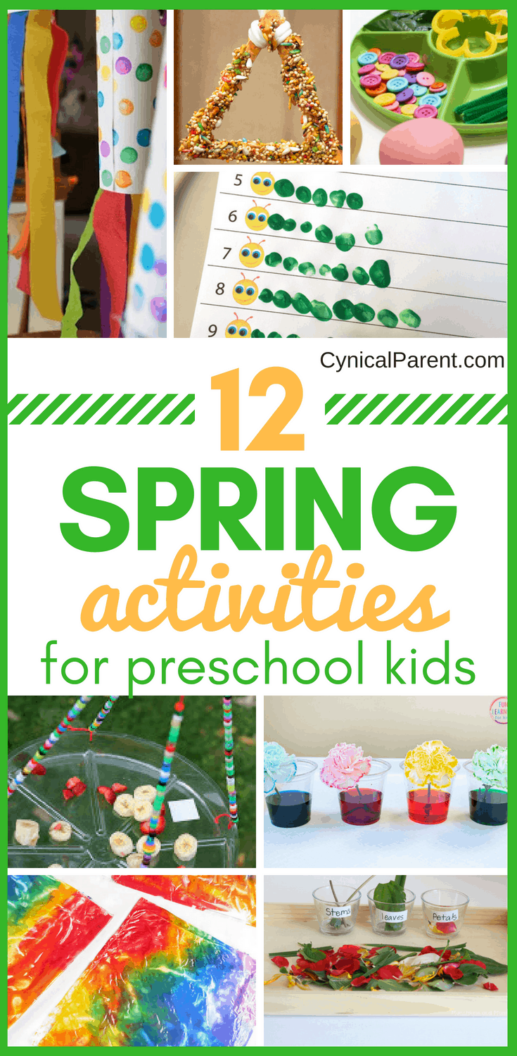 Spring time is a great time to get outside and enjoy the beautiful weather with your kids. These 12 super fun and engaging spring activities for preschool kids will help you teach your kids about spring while they're busy having fun!