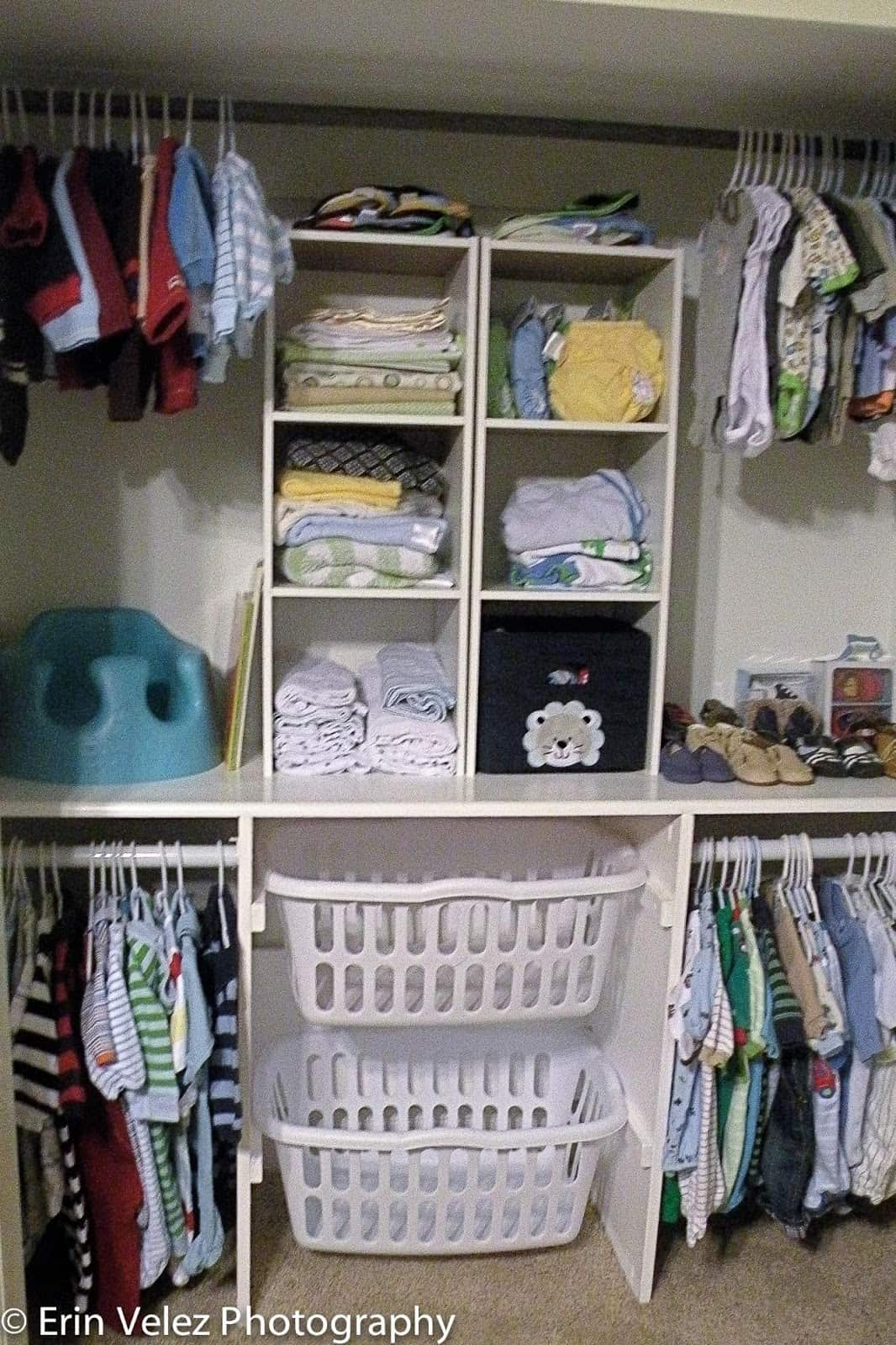 baby closet ideas - Laundry Basket Closet Storage Solution