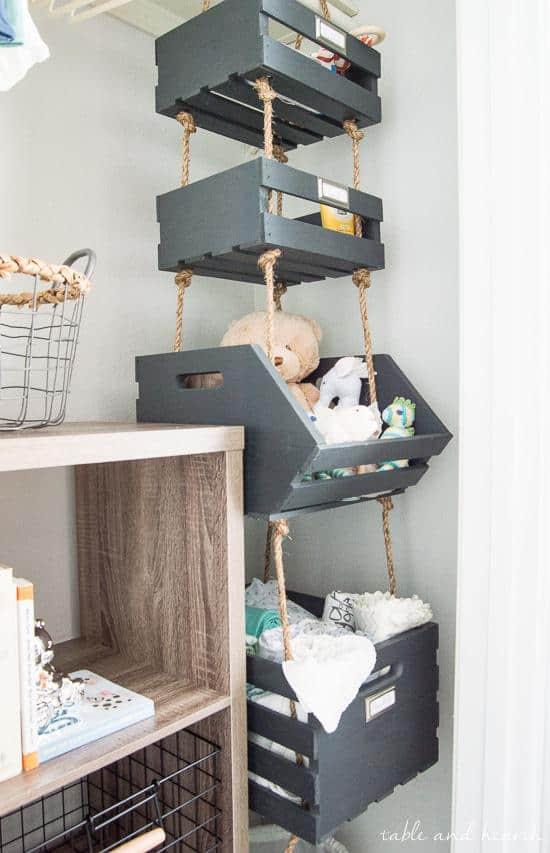 baby closet ideas - Simple Hanging Closet Storage