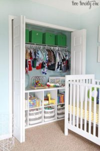 baby closet ideas - Traditional Closet with a Bookshelf
