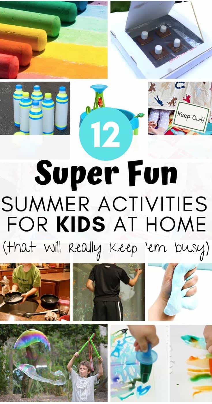 Here are some REALLY fun summer activities to do at home with your kids that'll keep 'em busy for a long time!